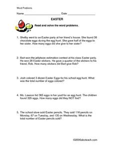 Easter: Word Problems Lesson Plan