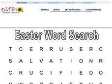 Easter Word Search: Religious Worksheet