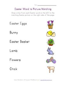 Easter Word to Picture Matching Worksheet