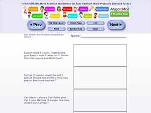 Easy Addition Word Problems Worksheet