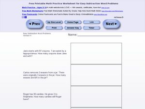 Easy Subtraction Word Problems #2 Worksheet