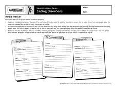Worksheets Eating Disorder Worksheets eating disorders media tracker 3rd 6th grade worksheet lesson worksheet