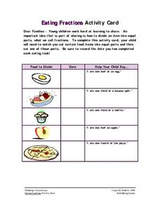 Eating Fractions Activity Card Worksheet