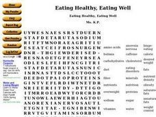 Eating Healthy, Eating Well Worksheet