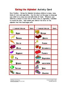 Eating the Alphabet Activity Card Worksheet
