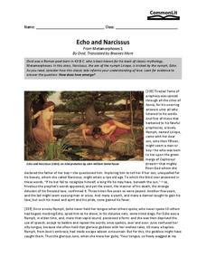 echo and narcissus 6th grade worksheet lesson planet. Black Bedroom Furniture Sets. Home Design Ideas