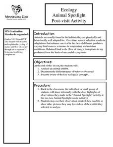 Ecology Animal Spotlight Post-visit Activity Lesson Plan