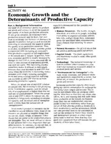 Economic Growth and the Determinants of Productive Capacity Worksheet