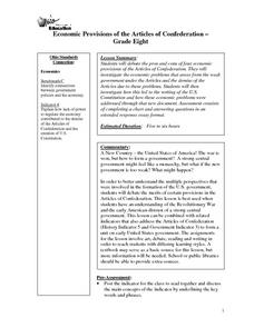 Economic Provisions of the Articles of Confederation Lesson Plan