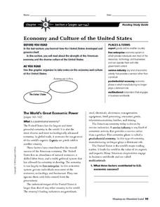 Economy and Culture of the United States Worksheet