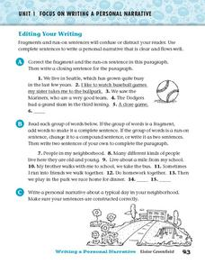 Editing Your Writing Worksheet
