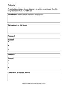 Editorial Writing Template 6th - 8th Grade Worksheet | Lesson Planet