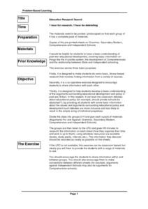 Education Research Search Lesson Plan