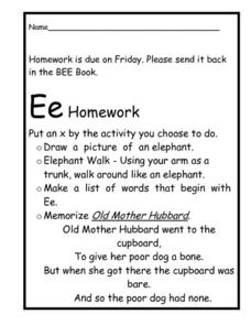 Ee Homework Choice Worksheet Worksheet