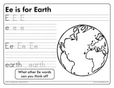 Ee is for Earth Worksheet