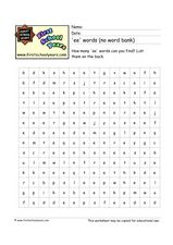 'Ee' Words Word Search Worksheet