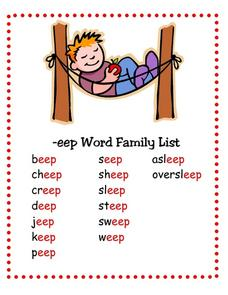 --eep Word Family List Lesson Plan