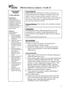 Effective Literary Analyses Lesson Plan