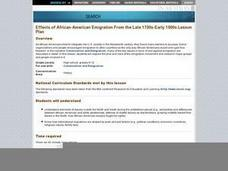 Effects of African-American Emigration From the Late 1700s-Early 1900s Lesson Plan