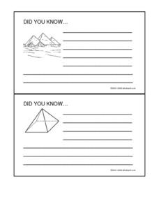 Egypt: Did You Know... Fact Cards Worksheet