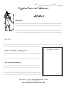 Egyptian Gods and Goddesses: Anubis Lesson Plan