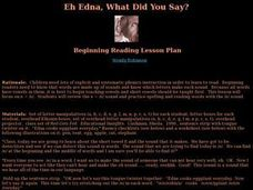 Eh Edna, What Did You Say? Lesson Plan