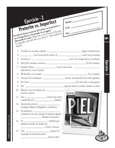 Ejercicio - 2 Preterite vs. Imperfect 6th - 12th Grade Worksheet ...