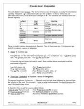 el verbo tener explanation 6th 8th grade worksheet lesson planet. Black Bedroom Furniture Sets. Home Design Ideas