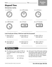 Elapsed Time - Practice 13.2 Worksheet