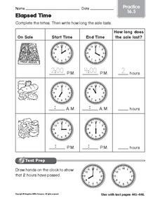 Elapsed Time Practice 16.5 Worksheet