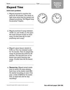 Elapsed Time: Problem Solving 12.4 Worksheet