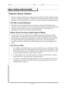 Electric Shock: Caution! Worksheet