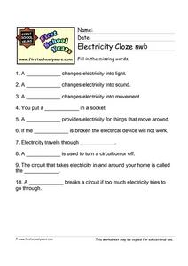 Electricity Cloze Activity Worksheet