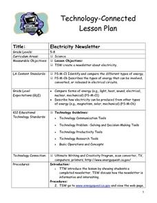 Electricity Newsletter Lesson Plan