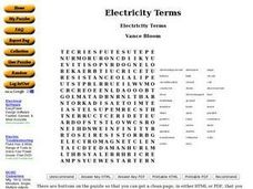 Electricity Terms Worksheet