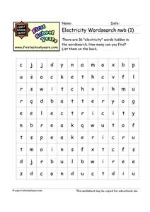 Electricity Word Search Worksheet
