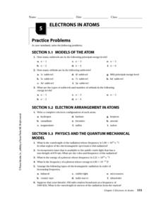 Electrons in Atoms Worksheet