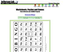Element Bingo Cards Worksheet