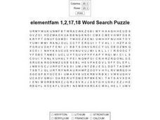Elements Families 1, 2, 17, And 18 Worksheet