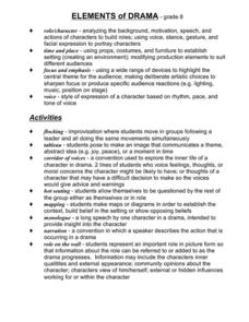 Printables Drama Terms Worksheet elements of drama 7th 8th grade worksheet lesson planet worksheet