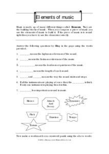 Elements of Music 7th Grade Worksheet | Lesson Planet