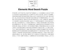 Elements Word Search Puzzle Worksheet