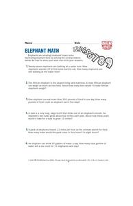Elephant Math Lesson Plan