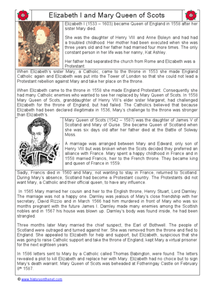 Elizabeth I and Mary Queen of Scots Worksheet