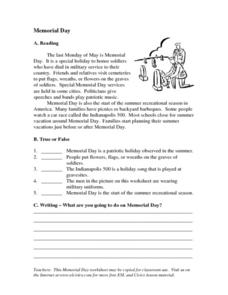 ELL/ESL Reading and Reasoning Selection- Memorial Day Worksheet