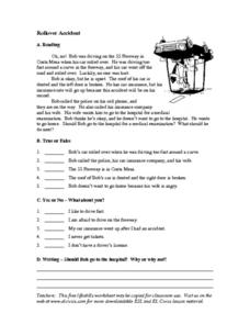 ELL Rollover Accident- What Should Bob Do Next? Worksheet