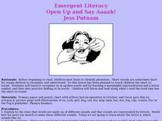 Emergent Literacy: Open Up and Say Aaaah! Lesson Plan