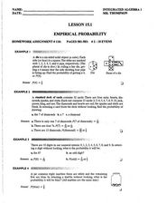 Empirical Probability Worksheet