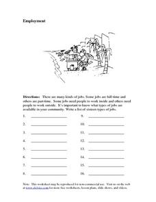 Employment: Brainstorming Worksheet