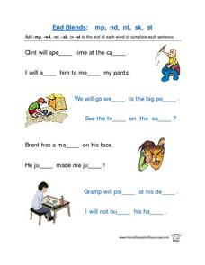 End Blends-- mp, nd, nt, sk, st Lesson Plan